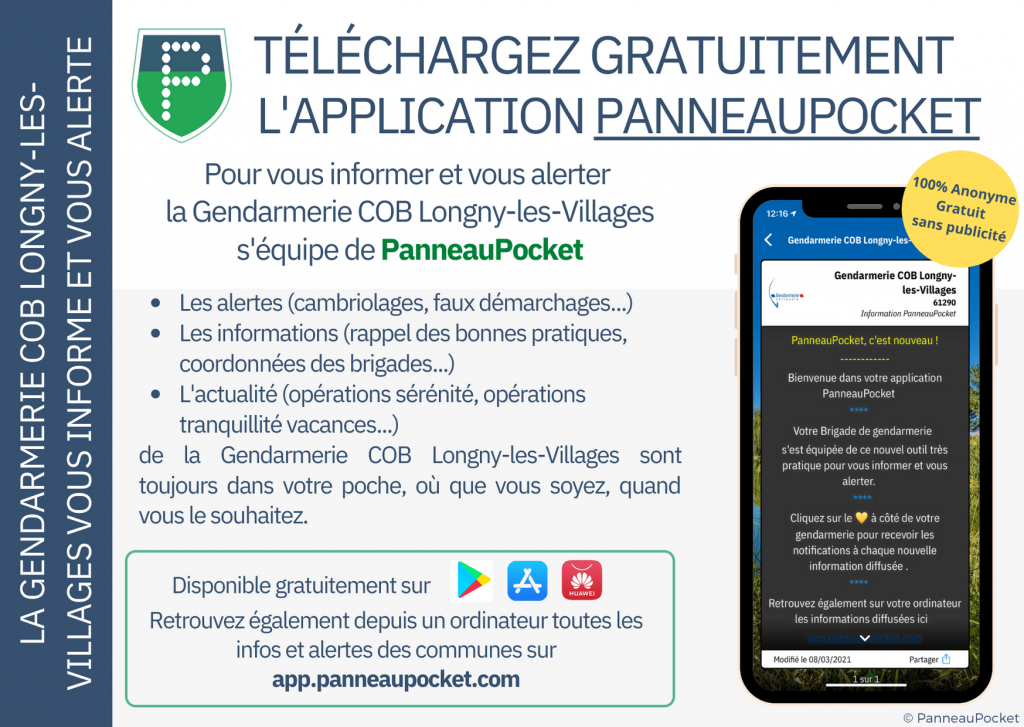 Application panneaupocket de la gendarmerie COB de Longny les Villages